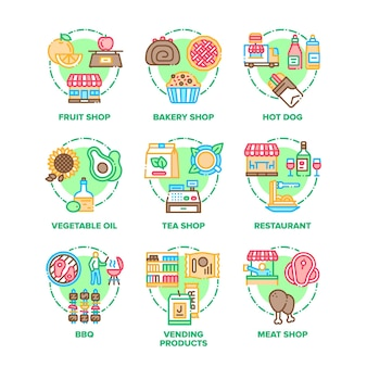 Food and meal set icons