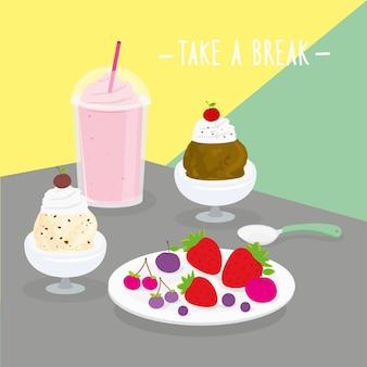 Food meal take a break dairy eat drink menu