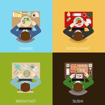 Food meal time top view flat concepts illustrations set.