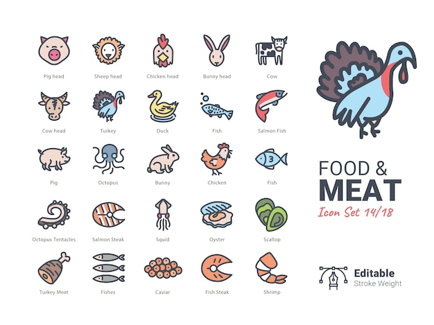 Food & meat vector icons collection