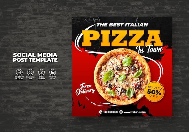 Еда меню и лучшая вкусная пицца для социальных сми векторный шаблон