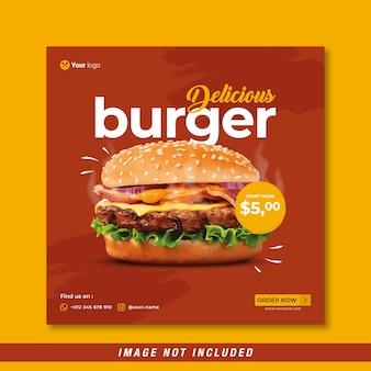 Меню еды и вкусный бургер шаблон баннера в социальных сетях бесплатные векторы
