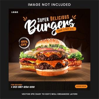 Меню еды и вкусный бургер шаблон веб-баннера premium
