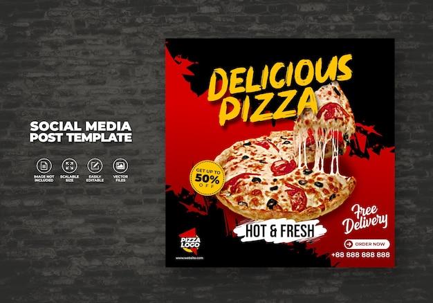 Еда меню и вкусная горячая свежая пицца для социальных сми векторный шаблон