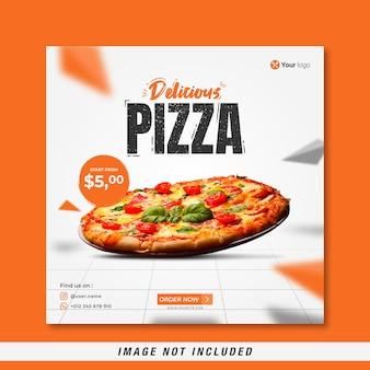 Меню еды и вкусная пицца шаблон баннера в социальных сетях бесплатные векторы