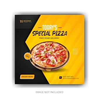 Меню еды и вкусная пицца шаблон баннера в социальных сетях премиум eps
