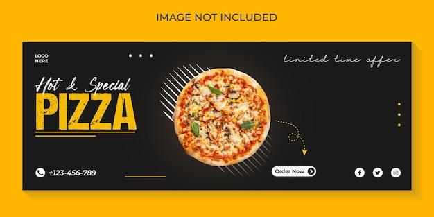 Меню еды и вкусная пицца шаблон обложки в социальных сетях