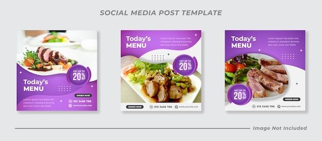 Набор шаблонов меню еды и ресторана в социальных сетях