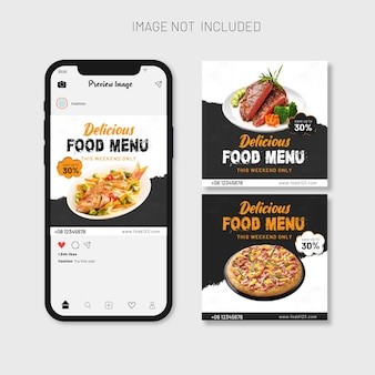 Шаблон баннера для меню еды и ресторана в социальных сетях