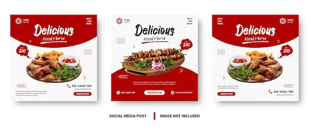 음식 메뉴 배너 소셜 미디어 게시물. 음식 메뉴의 프로모션을위한 편집 가능한 소셜 미디어 템플릿. 소셜 미디어 스토리 및 포스트 프레임 세트. 소셜 미디어 마케팅을위한 레이아웃 디자인.