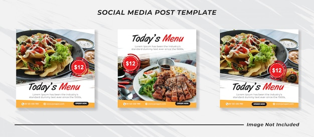 Шаблон сообщения в социальных сетях баннера меню еды.