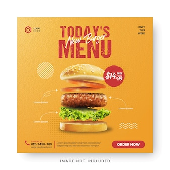 음식 메뉴 배너 소셜 미디어 게시물.