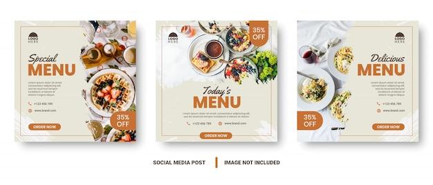 Публикация в социальных сетях баннера меню еды.