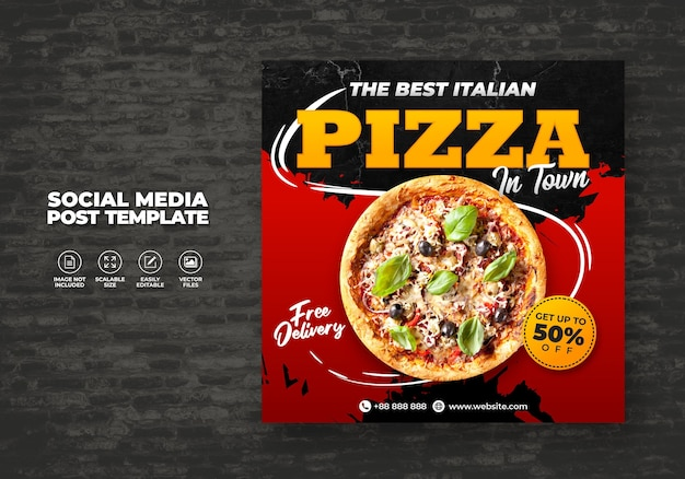 Food menu and delicious best pizza for social media vector template