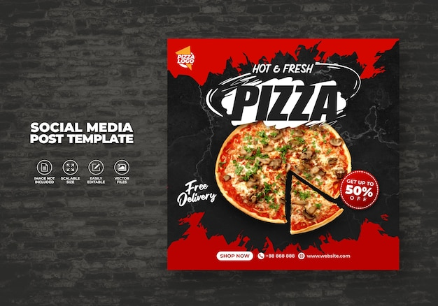 Food menu and delicious hot fresh pizza for social media vector template