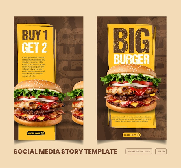 Food menu and delicious instagram and facebook story and banner template