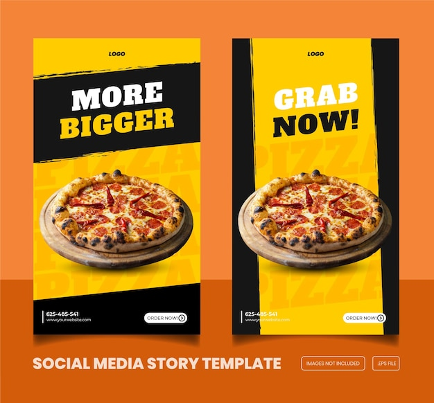 Food menu and delicious pizza instagram and facebook story template