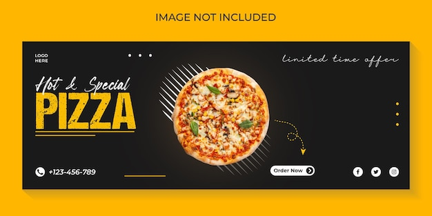 Food menu and delicious pizza social media cover banner template