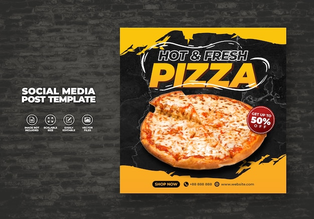 Food menu and delicious pizza for social media vector template