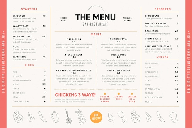 Food menu for digital use template with illustrations