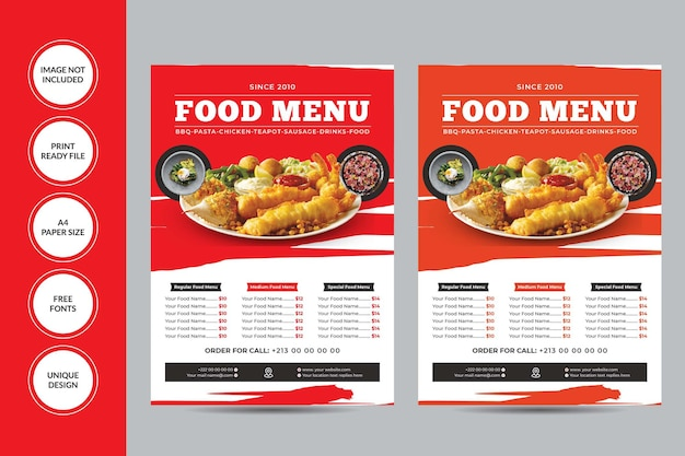 Шаблон флаера меню еды