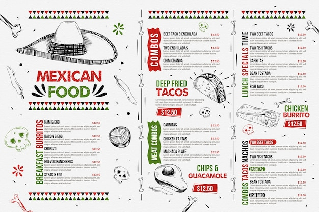 디지털 사용을위한 음식 메뉴