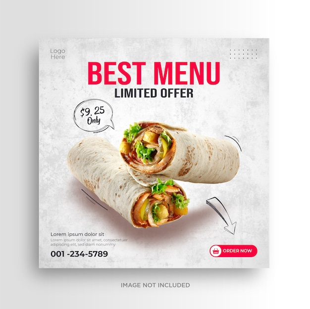 Food menu restaurant social media banner template