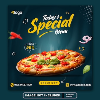 Food menu and restaurant social media instagram post banner template or square flyer