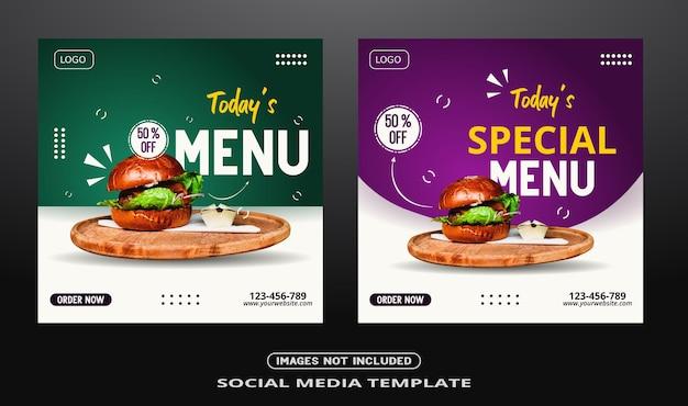 Food menu social media post banner