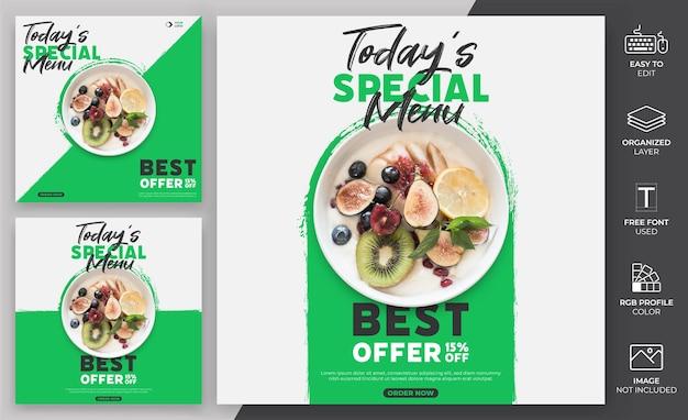 음식 메뉴 소셜 미디어 포스트 템플릿 벡터 design.healthy 메뉴 템플릿은 프로모션에 사용할 수 있습니다.