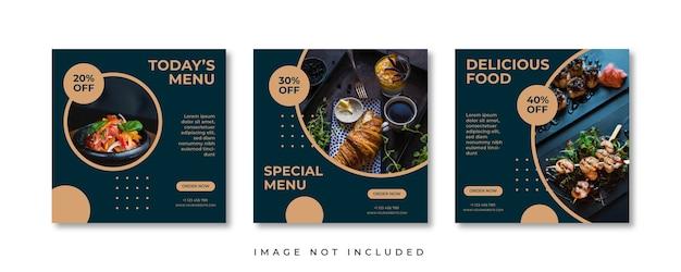 음식 메뉴 소셜 미디어 게시물.