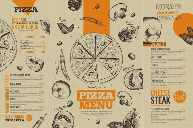 Food menu template for digital use with illustrations