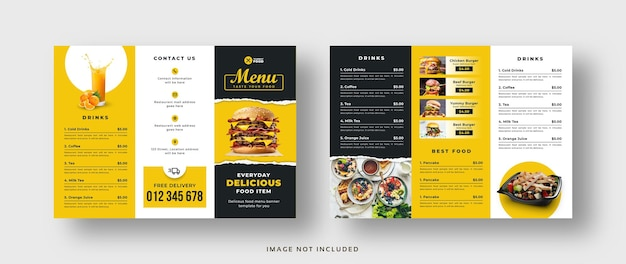 Брошюра с тройным сложением меню еды для ресторана