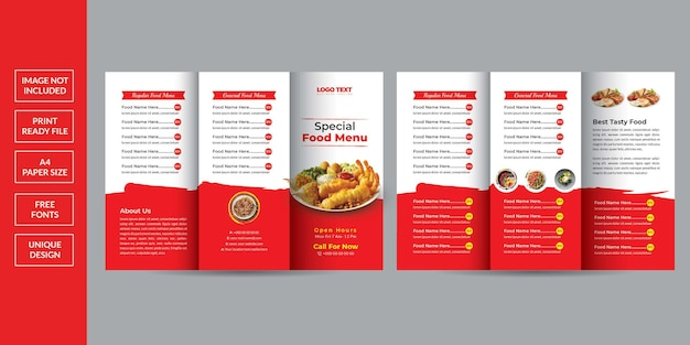 Food menu trifold brochure