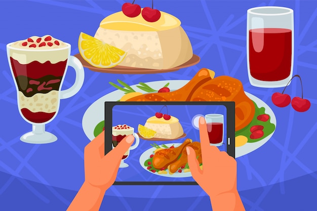 Фото еды передвижное, телефон в иллюстрации руки. фотография смартфона камерой, обед в ресторане на столе. картина