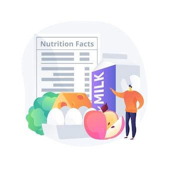 食品栄養品質抽象的な概念ベクトルイラスト。栄養価、健康維持、人間の代謝、有機食品の家畜、品質検査と認証の抽象的な比喩。