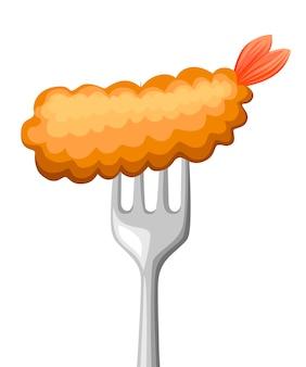 フォークの上に食べ物。エビはステンレス鋼のフォークで揚げた。天ぷら、バター、和食。白い背景のイラスト。
