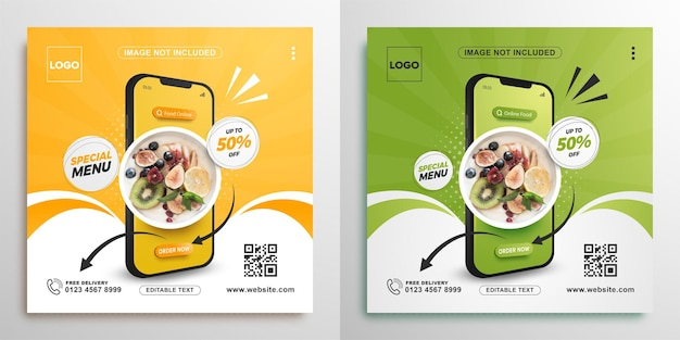 Food online promotion with mobile square banner for social media post