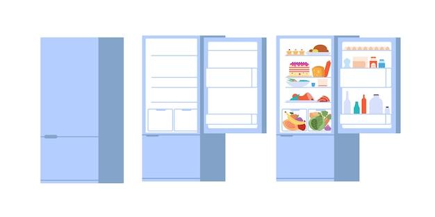 식품 오픈 냉장고. 닫힌 열린 냉장고, 문이 있는 평평하고 비어 있는 식품 보관소. 격리 된 부엌 냉동고 벡터 일러스트 레이 션. 음식이 있는 냉장고 문, 주방 기기가 열리고 닫힙니다.