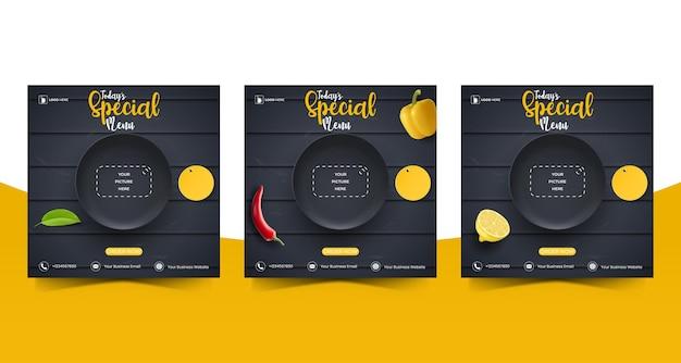 リアルな黒い皿の唐辛子を使ったプロモーションイラスト用の、食べ物や料理のソーシャルメディアマーケティング編集可能な正方形のソーシャルメディア投稿