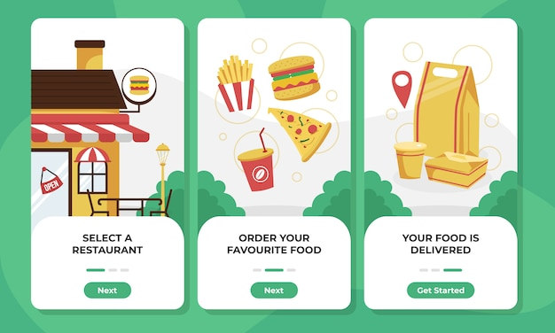 Food order and delivery onboarding screens