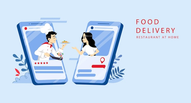 Food order online and delivery concept.