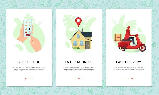 Набор баннеров для мобильных приложений онлайн-заказа еды. выбирайте и заказывайте меню блюд на шаблоне экрана смартфона. экспресс-доставка самокатов из концепции обслуживания кафе. мопед продукта логистической векторные иллюстрации