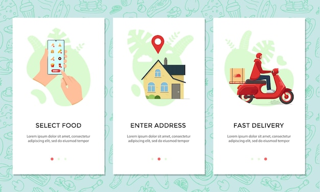 Food ordering online mobile app banner set. choose and order dishes menu on smartphone screen template. express scooter delivery from cafe service concept. product moped logistic vector illustration