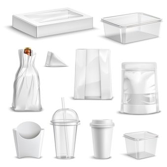 Food packaging blank realistic set