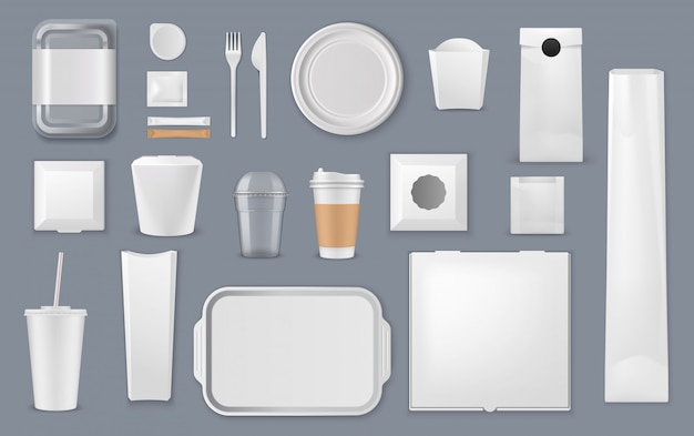 Food packaging box, bag and cup templates