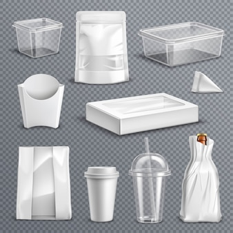 Food packaging realistic transparent set