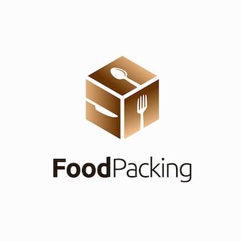 상자 개념이 있는 식품 포장 로고