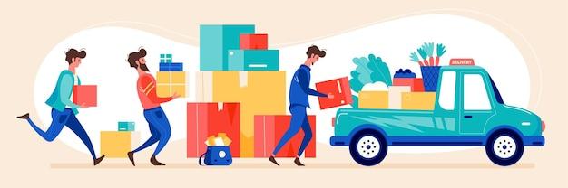 식품 소포 온라인 주문 배달 서비스 택배가 포장 상자 그림을 가져 오는 평면 수평 구성