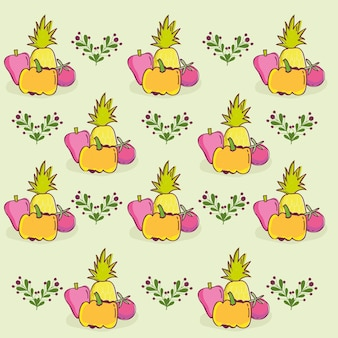 Food pattern, decorative pineapple pumpkin papper and tomato template  illustration